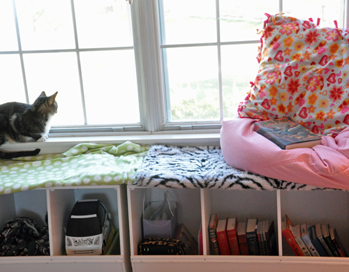 Window seat nook for reading