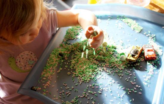 sensory play with rice