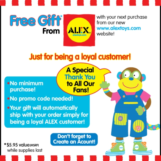 Free Gift with Purchase on the ALEX Toys website